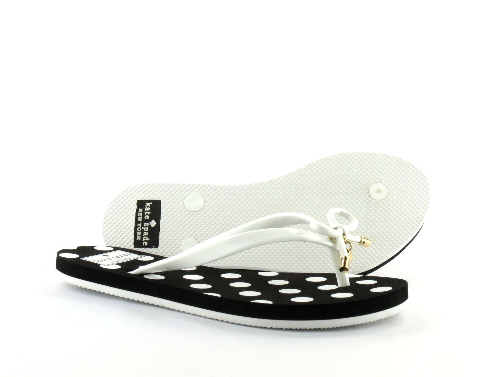 f7fb589622ba Kate Spade S080014 Nova White Shiny Rubber Polka Dot Black Flip Flop Sandal  5 for sale online
