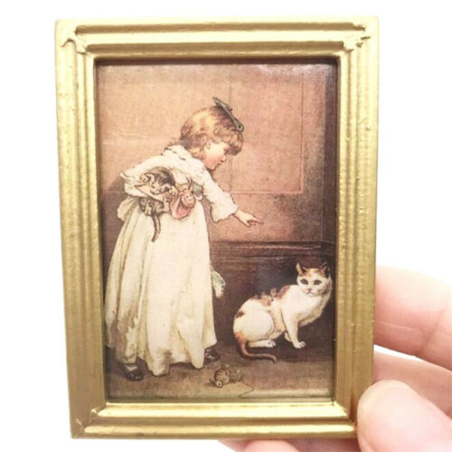 1:12 Dollhouse Miniature Furniture Room Oil Painting Girl With Cat Gold Frame \