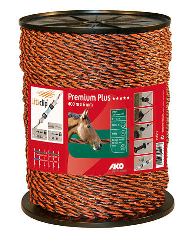 (   1m) 1m) 1m) AKO PremiumLine Weidezaunseil 400m Orange braun 441519 36f9b2
