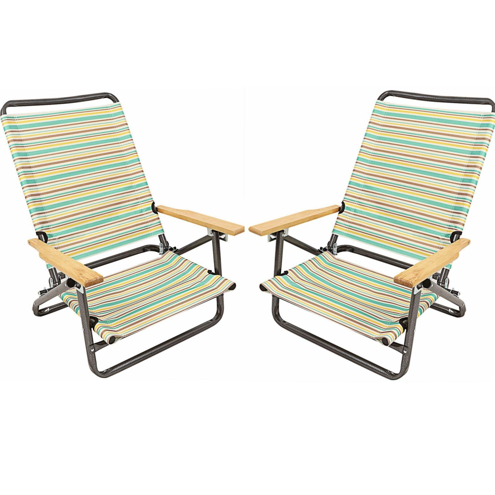 2 Folding Beach Chair Camping Chair Outdoor Arm Lightweight Portable 3-Position