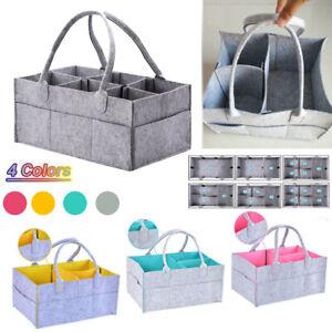 UK Felt Storage Nappy Nursery Organizer Basket Infant Baby Diaper Caddy Wipe Bag