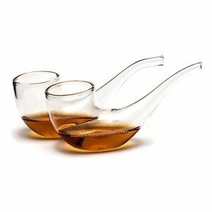 Pack-of-2-BRANDY-SIPPING-GLASSES-Pipe-Whisky-Port-Sippers-Unique-Drinking-Gifts