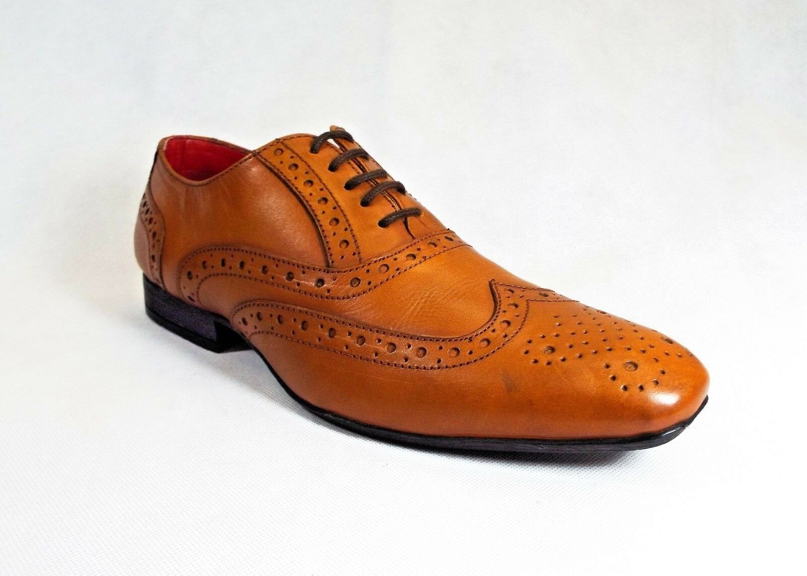 Mens Shoes Brown Leather Brogue Shoes Mens Wedding Formal Smart Casual b88bfd