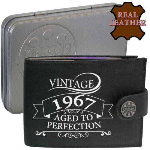 1967 Homme en Cuir Véritable Portefeuille Vintage Aged to Perfection Mans cadeau Tin Box RFID