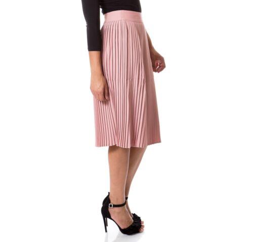 scollo nuovo con Gonna chiffon rosa plissettata abito da a donna donna in pieghe rotondo in da TwxROqZpT