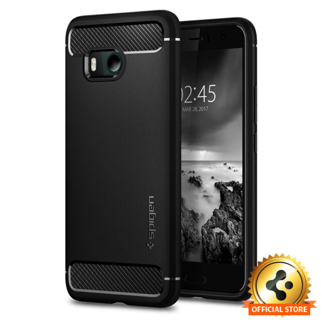 big sale d4e28 e6150 Spigen® HTC U11 [Rugged Armor] Black Shockproof Protective Slim TPU Case  Cover