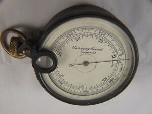 Antique-Brass-Surveying-Aneroid-Compensated-Instrument-w-Case-Made-England-Rare