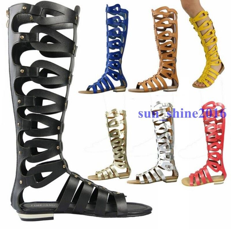 Hot Women's Summer Gladiator Knee High Tall Sandals Hollow Out Roman Boots shoes