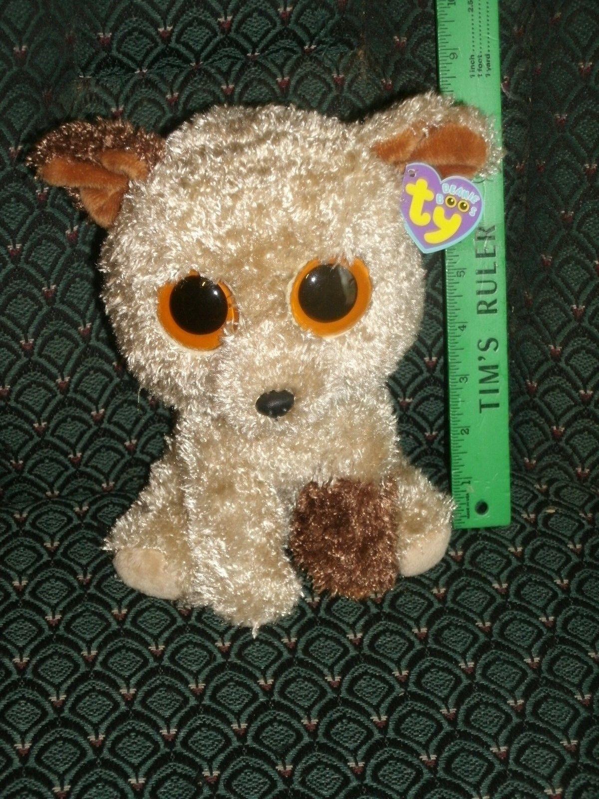 TY Beanie Boo Boo Boo medium 9  ROOTBEER Dog Solid eyes MWMT Purple tag retired HTF 01d8f0