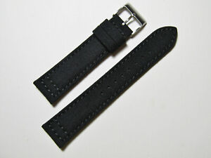 22mm-Hadley-Roma-ms850-Herren-Schwarz-Cordura-Canvas-Watch-Band-Strap