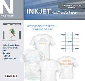 """JetPro SofStretch Heat Transfer Paper for Light Colors 8.5"""" x 11"""" (10 Sheets)"""