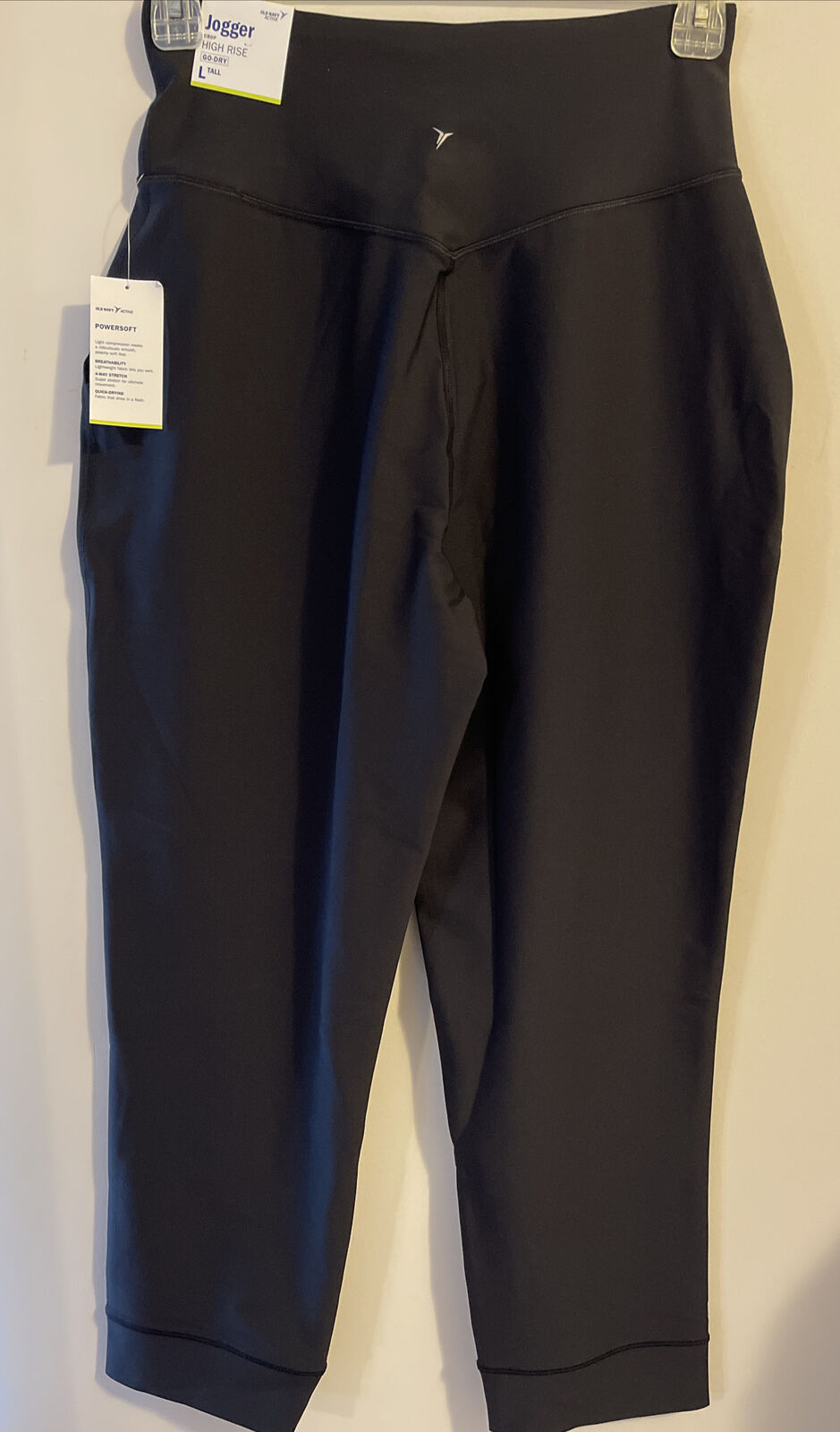 Old Navy Womens Black Large T High Rise Crop Go Dry Powersoft Joggers NWT! A1718