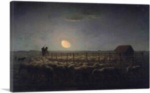 ARTCANVAS-The-Sheepfold-Moonlight-Canvas-Art-Print-by-Jean-Francois-Millet