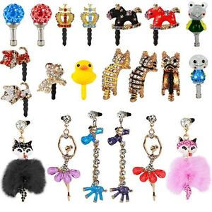 CRYSTAL-GLOW-HANGING-ANIMALS-CARTOON-ANTI-DUST-EAR-JACK-CAP-FOR-iPhone-6-7-Plus