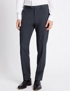 """Men`s New M/&S Collection Flat Front Charcoal Formal Suit Trousers W36/""""-L33/"""""""