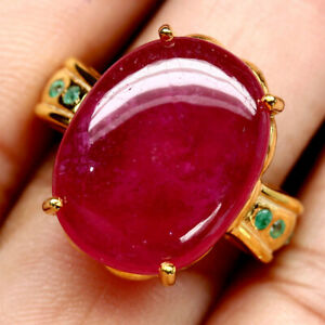 NATURAL-15-X-20-mm-CABOCHON-RED-RUBY-amp-GREEN-EMERALD-RING-925-STERLING-SILVER