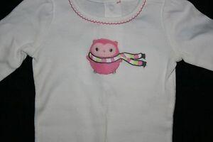 New gymboree pink owl soft applique bodysuit top cozy pals m