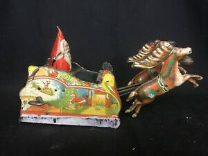 RARE-Vintage-Ferdinand-Strauss-Santee-Claus-Mechanical-Toy-Wind-Up-Tin-Litho