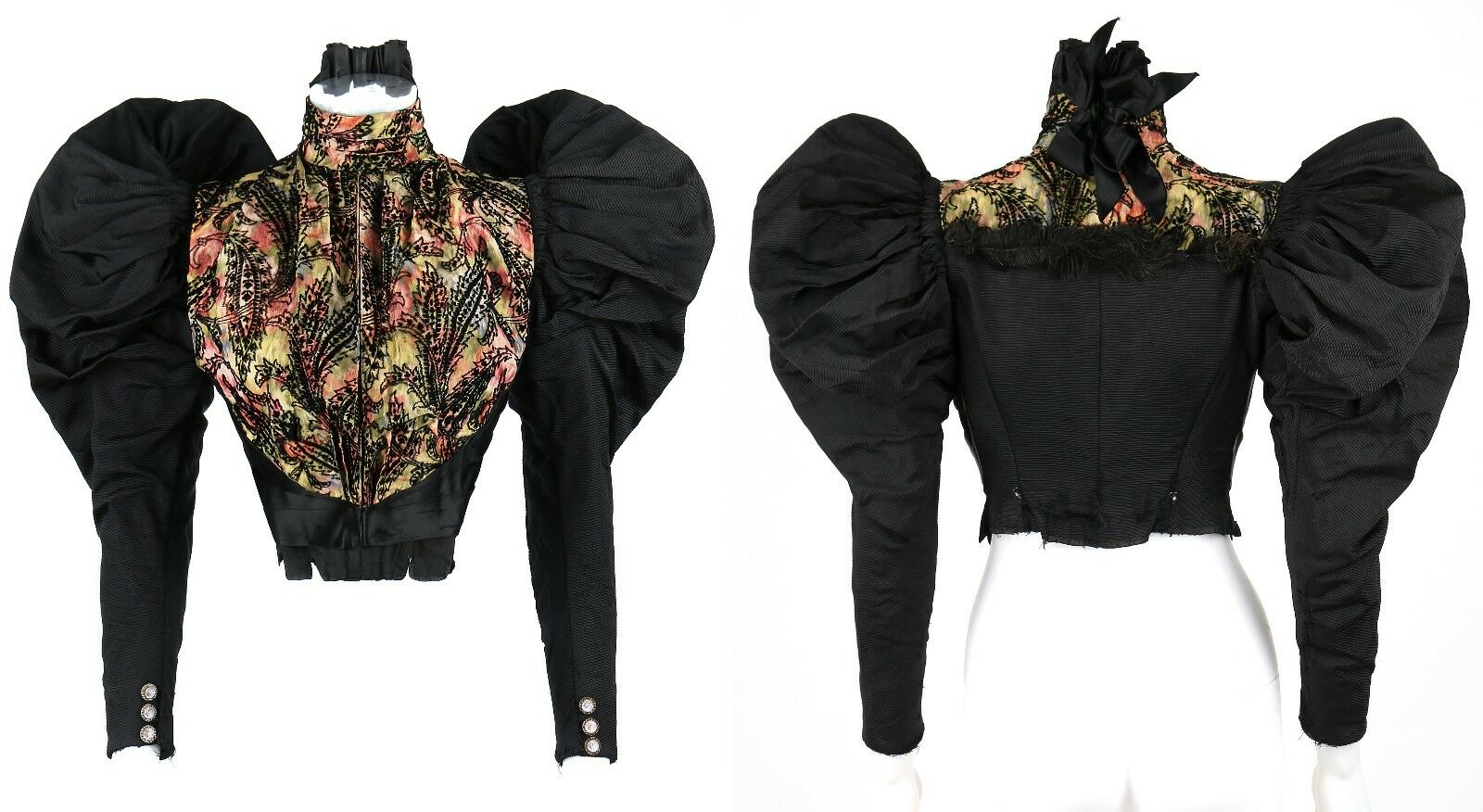 VICTORIAN Couture c.1890's Bodice Bustle Skirt Dr… - image 3