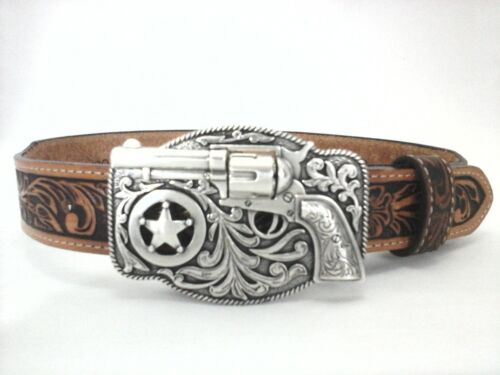 JUSTIN Belt Brown Tooled Leather Western REVOLVER Gun Buckle USA Youth 18 $49