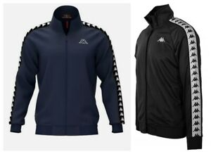 Mens-Kappa-Logo-Track-Jacket-Retro-Tracksuit-Sports-Top-Black-Navy-Size-S-M-L