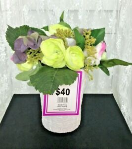 Beautiful Tall Faux Flower Arrangement In Ceramic Basket Weave Container Ebay