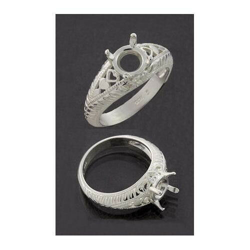 (4mm - 7mm) Round Engraved Shank Sterling .925 Ring Setting (Ring Size 7 )