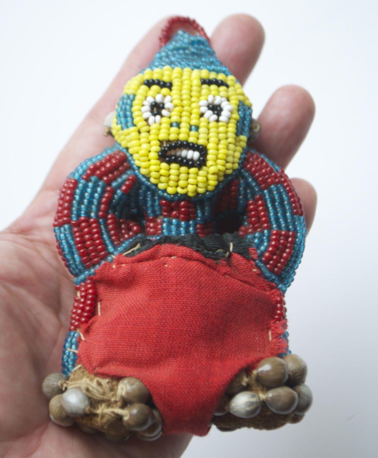 Muñeca de Fertilidad bamileke Camerún étnicos con Cuentas Hecho a Mano Vintage Original  D2