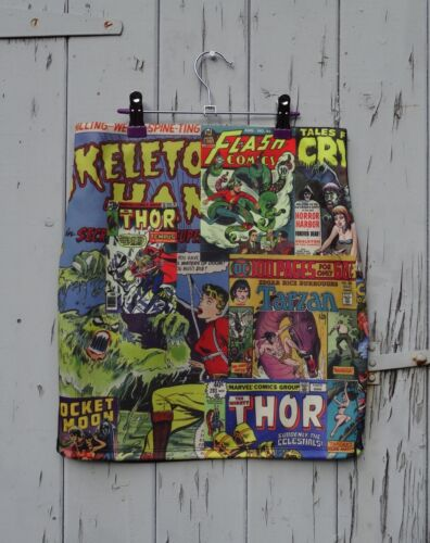 Comic Book Cover Mini Skirt Hulk Marvel Superhero Retro Size 8 10 12 14 16