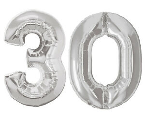 Image Is Loading Large Number 30 Silver Balloons 30th Birthday Anniversary