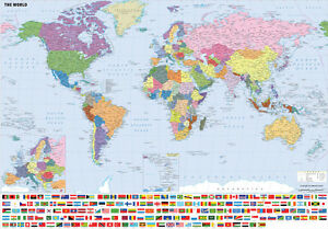 Giant large a0 a1 world map wall chart including flags laminated image is loading giant amp large a0 a1 world map wall gumiabroncs Images