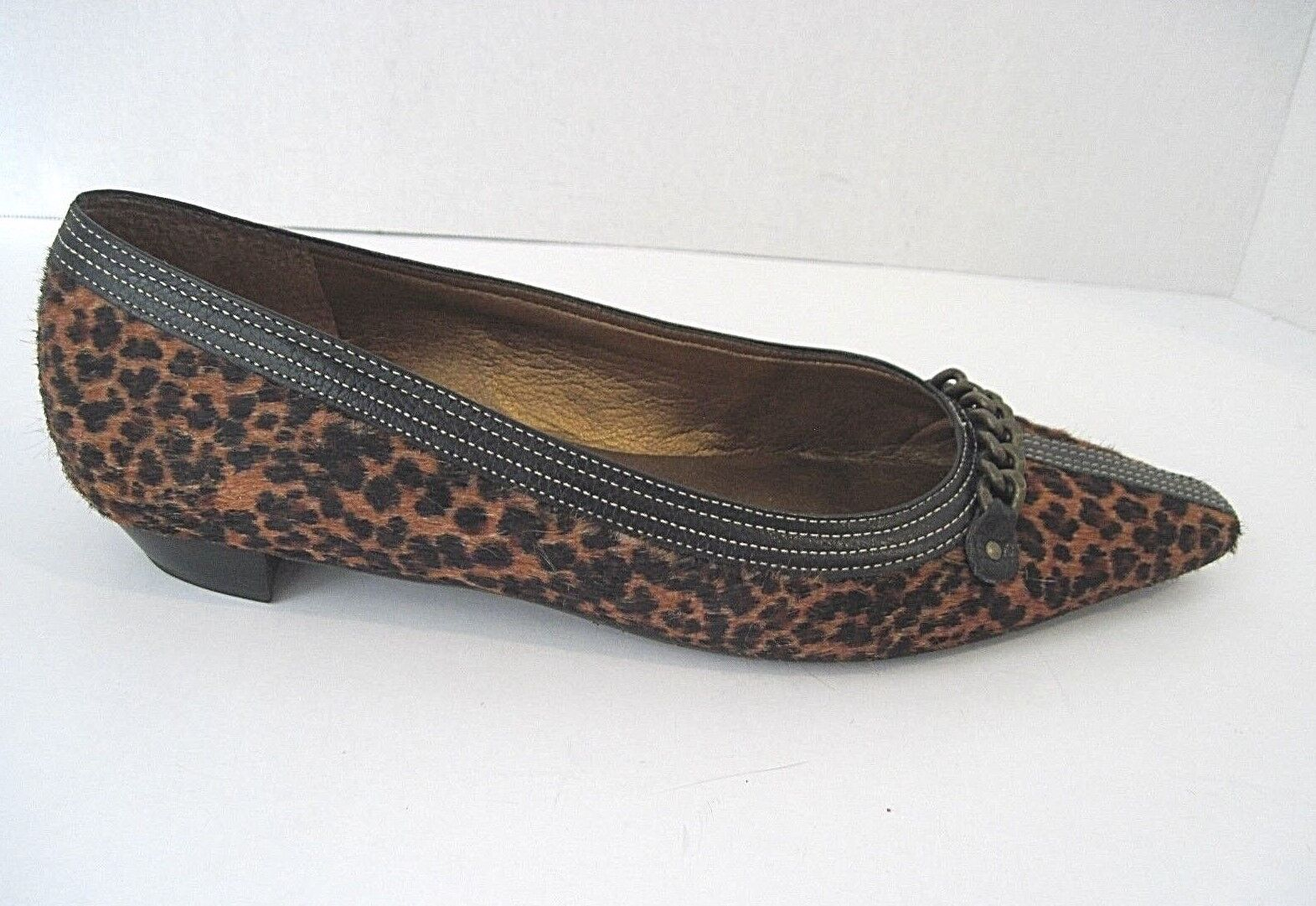TALBOTS Leopard Animal Print Pony Hair Pointed Toe Flats Schuhes Größe 8 1/2 B