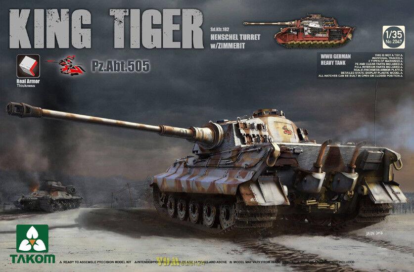 King Tiger SdKfz182 Henschelturm Zimmerit Pz.Abt.505 Takom 2047 Königstiger 1 35