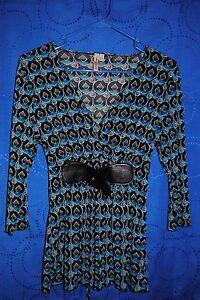 SUSAN-LAWRENCE-Turquoise-Black-Orange-Patterned-Knit-Top-Size-PM