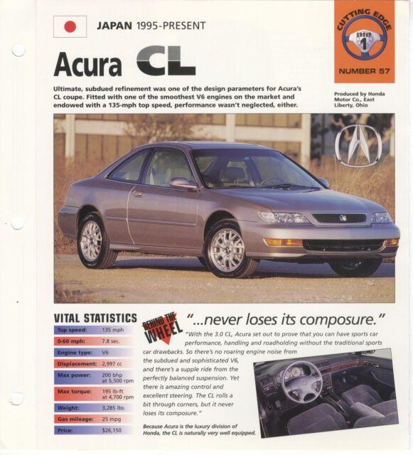 ACURA CL COLLECTOR BROCHURE SPECS 1995-PRESENT GROUP 1, NO