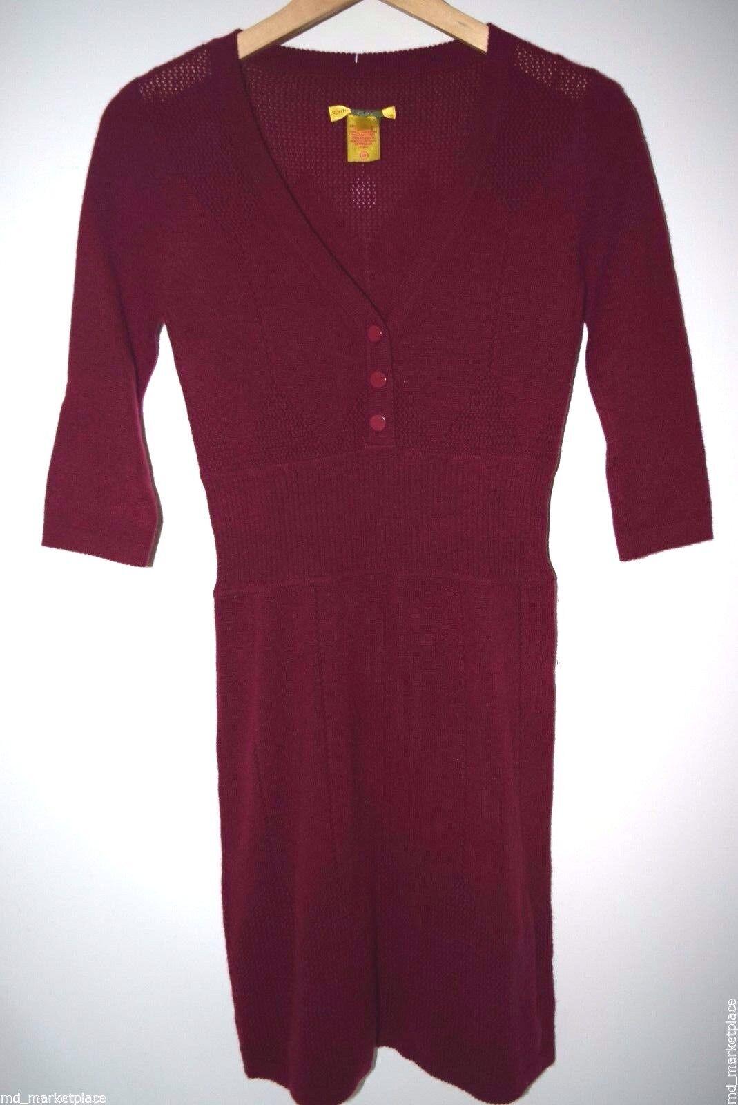 CATHERINE MALANDRINO Stunning Fit Flare Dress 100% CASHMERE Knit Merlot Vneck PS