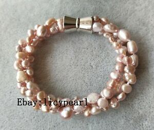 Neu-Suesswasser-Perle-Armband-3-Straenge-6-9-mm-Lavendel-Barock-Perle-Armband
