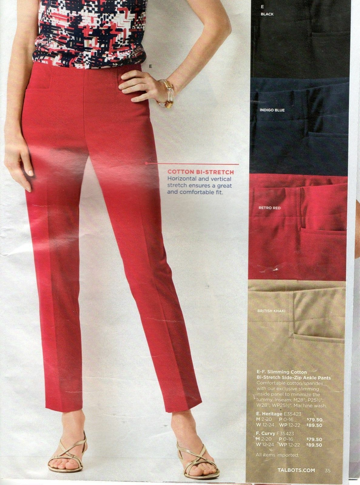 Talbots NWT  89 14 Double Weave Pants RED Cotton  Ankle Crop Side Zip Bistretch
