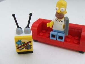 New Lego Homer Simpson Minifigure With New Sofa Tv Set Tv