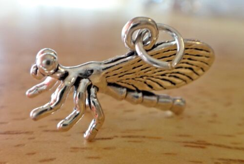 Sterling Silver 3D 22x13mm Dragonfly Charm Cute!