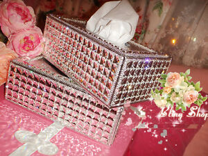 super bling austria diamond crystal leather tissue box holder home