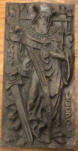 Heiliger-Leopold-Klosterneuburg-Bronze-od-Messing-schwer-42-X-21-Cm-25182