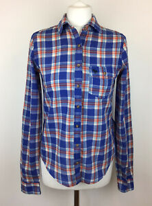 Ladies-Abercrombie-And-Fitch-Checked-Plaid-Shirt-Blue-Red-Button-Up-Shirt-Size-S