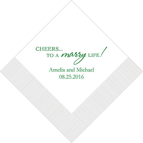 300 Cheers Marry Life Printed Wedding Luncheon Napkins