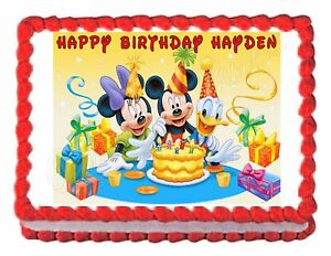 Marvelous Mickey Mouse Birthday Party Edible Cake Image Cake Topper Frosting Personalised Birthday Cards Xaembasilily Jamesorg