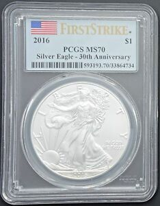 2016-Silver-American-Eagle-1-Coin-MS-70-PCGS-First-Strike-Flag-Label-FREE-S-H