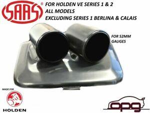 SAAS Gauge Dash Pod / Holder for Holden VE Series 1 & 2 52mm Gauges Black