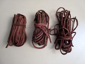 Vintage-Lot-Strips-1-8-034-Raw-Edge-Belting-Leather-Lacing-Horse-Tack-Bridle-Crafts