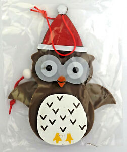 Christmas-ornament-pull-string-owl-with-Santa-Hat-6-034-tall-NEW-Holiday-Time