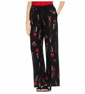 Vince-Camuto-Womens-Black-Floral-Printed-Flat-Front-Wide-Leg-Pants-Black-Large
